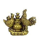 BRASS STATUE Messing Statue Cock/Rooster Statue Messing Skulptur Chinesische Begriff Folk Handwerk Collectible Figuren Happy Family