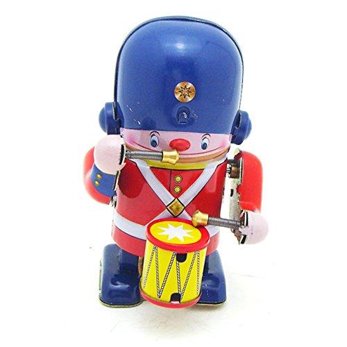 VIDOO Klassisches Vintage-Uhrwerk Aufwind-Schlagzeuger Marching Band Roboter Kinder-Zinnspielzeug mit Schlüssel