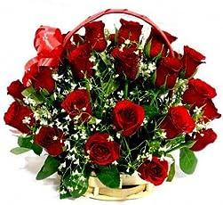 Floralbay Special Handle Basket Arrangement of 25 Red Roses Fresh Flowers (FB34)