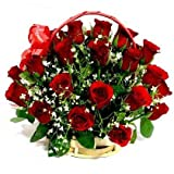 Floralbay Special Handle Basket Arrangement of 25 Red Roses Fresh Flowers (FB34)