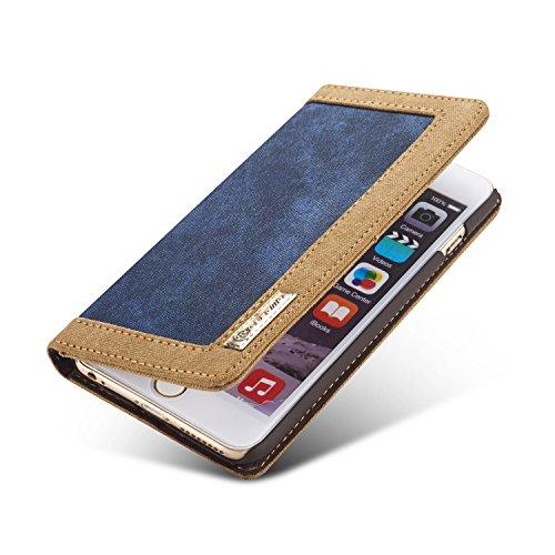 Wecell iPhone 6 / 6S Canvas Jeans Pu Leder Handy Tasche Schutzhülle Hülle handyHülle Bookstyle Case - Rot Blau
