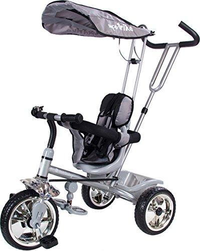 Super Trike Convertible Tricycle Poussette Enfant avec Poignéè de Poussée Panier Gris