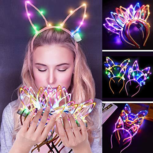 Legendog Haarreifen dekorative Katze Ohren Kaninchen Ohren LED leuchten Haarband Party Stirnband
