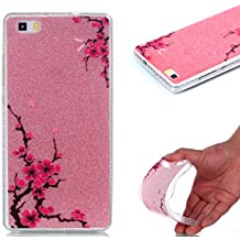 Huawei P8 Lite Case, Huawei P8 Lite Cover Case, Cozy Hut [Shiny Case] [Bling Crystal] Pretty Fashion Ultra Thin Sparkle Case Premium 2 Layer Hybrid Semi-transparent / Exact Fit / Anti-Scratch / Soft Case for Huawei P8 Lite - Peach blossom