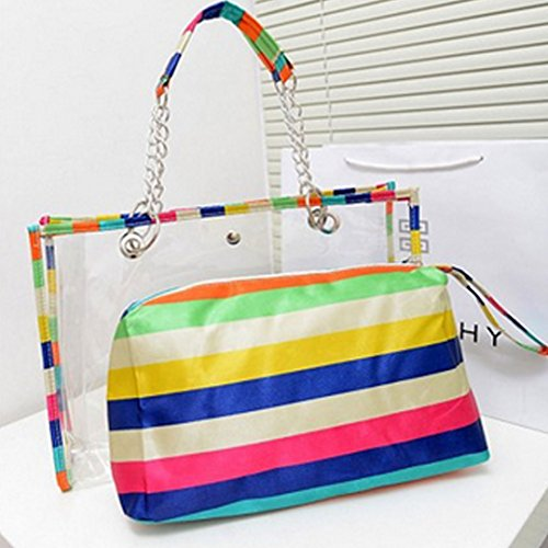 LA HAUTE Women Girls Summer Transparent Jelly Beach Tote Bags Colorful Stripe PVC Waterproof Swimming Shoulder Bags with Insert Small Purse