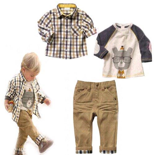 Sopo Toddler Bambini Casual 3pezzi plaid (maglietta + camicia + pantaloni cachi) 1-5y Brown 3-4 Anni