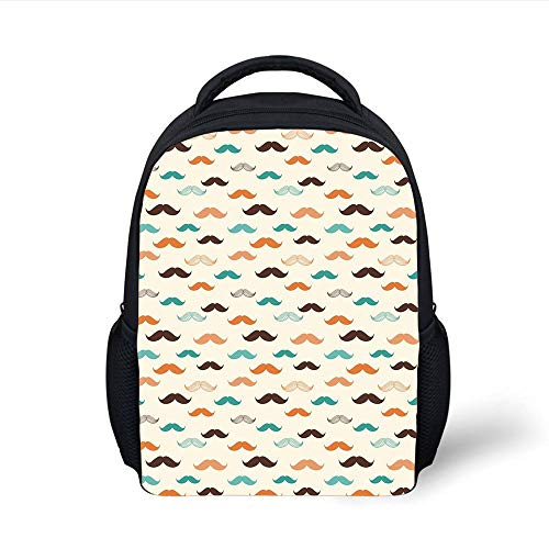 Kids School Backpack Indie,Retro Mustache Pattern in Stylized Curly Shapes Old Fashioned,Teal Orange Brown Plain Bookbag Travel Daypack