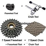Schrodinger15 70054 Bicycle Cycle 7S Speed Freewheel Road Mountain MTB 14-28 Teeth + 7S Chain 116 Link + Freewheel Tool + Chain Tool