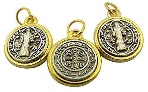 Gold Teller silber straffen Boden TU Ton St. Benedikt Medaille, Set 3, 1/5,1cm