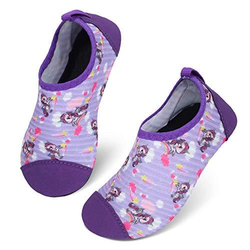 JIASUQI Kleine Kinder Wasserhautschuhe Schnell trockene Aqua Socken für Strand Sandschwimmen Regenbogen Pferd, 30/31 EU