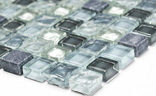 Mosaik-Netzwerk Quadrat Crystal/Stein mix klar/grau/silber Glas Naturstein Fliesenspiegel, Mosaikstein Format: 15x15x8 mm, Bogengröße: 60 x 100 mm, 1 Handmuster ca. 6x10 cm