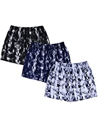 Nuovi Mens Cotton Poplin Photo Printed Black, Navy Blue And White Boxers (Pack Of 3)