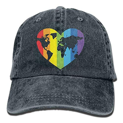 quality design b92cb b40ed Aoliaoyudonggha Mens Womens Gay Pride Cotton Denim Baseball Cap Adjustable  Hip Hop Caps Navy