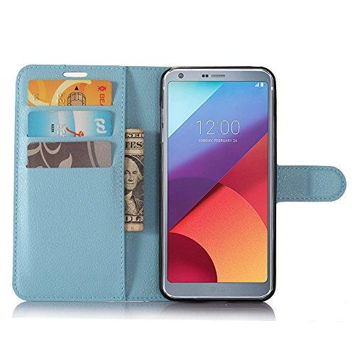 Guran® PU Ledertasche Case für LG G6 Smartphone Flip Deckung Standfunktion und Karte Slot Telefonkasten Etui-blau
