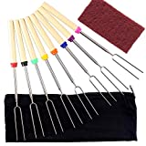 Marshmallow Roasting Sticks Extending Roaster Set of 8 Telescoping Smores Skewers & Hot Dog Forks 32 inch Fire Pit Camping Cookware Campfire Cooking Kids with Bag