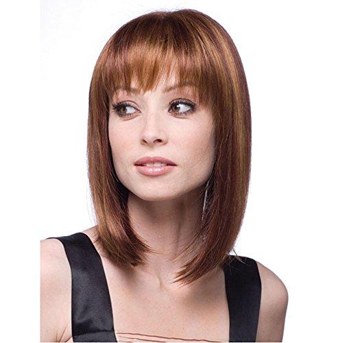Urparcel Cheveux longue Lisse Perruque Courte synthétique Perruque Bob Naturel Pour Femme Vie quotidienne 324.