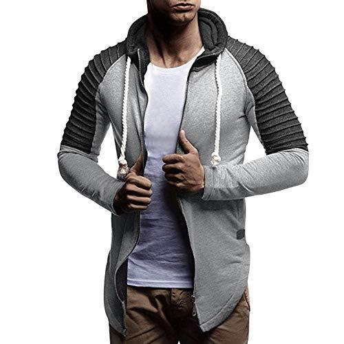 MIRRAY Herren Asymmetrischer Solide Kapuzen Reißverschluss Mantel Kordelzug Pullover -