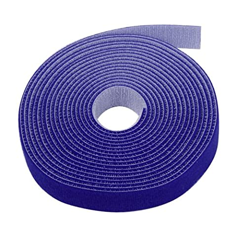 TNP Hook And Loop Tape Strap Cable Ties Fastener (Blue) (15 Feet) - Sticky Self Adhesive Nylon Fabric Roll Wrap 0.75