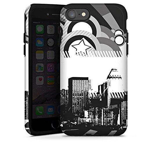 Apple iPhone X Silikon Hülle Case Schutzhülle Stadt Sterne City Tough Case glänzend
