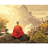 WYTTT Painting By Numbers Number Diy Dropshipping Buddhist Monk In The Mountai Figure Canvas Wedding Decoration Art Picture Gift 16X20In Frameless