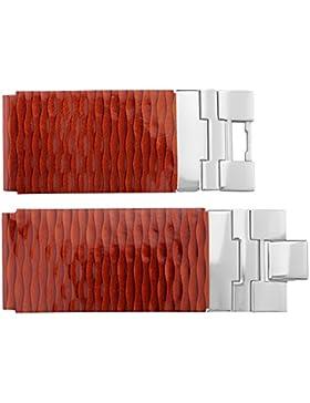 Armbanduhr lederarmband in Rot Kalb Leder - 28 - - Schnalle in Silber Edelstahl - B28001
