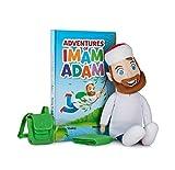 Adventures of Imam Adam Plüschpuppe mit gebundenem Buch, Herausnehmbarer Tasche und Gebetsteppich