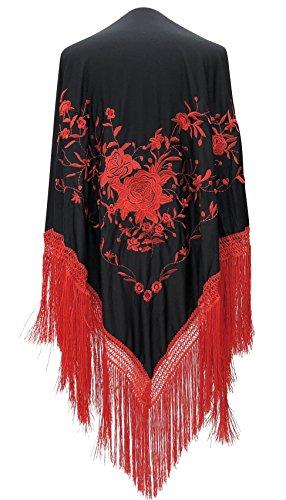 La Señorita Foulard cintura chale manton de manila Flamenco scialle di danza nero rosso frangia rosso Large