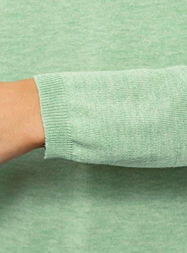 oodji Ultra Damen Lässiger Pullover mit U-Boot-Ausschnitt Grün (6000M)
