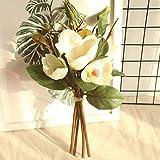 Yazidan Künstliche gefälschte Blumen Leaf Magnolia Blumenhochzeitsstrauß Party Home Decor,Unechte Blumen,Künstliche Deko Blumen Seidenrosen Plastik Braut Hochzeitsblumenstrauß für Haus Garten