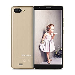 Blackview SIM Free Mobile Phones, A20 (2018) Android GO, Dual SIM Unlocked Smartphone 5.5 Inch IPS Display- 3000mAh Battery - 5MP Dual Cameras - Bluetooth - GPS - 3G Mobile Phone Gold