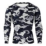 Wenyujh Herren Sport T Shirt Langarm Funktionsshirt Trainingsshirt Langarmshirt Kompression Camouflage Muster Radfahren Fitness