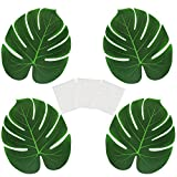 GOLRISEN 48 Stück Tropische Blätter Künstlich Palmenblätter Deko mit 60 Stück Klebepunkte für Hawaii-Mottoparty, Regenwald, Hochzeit, Tisch Dekorationen