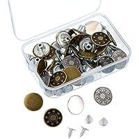 40 Sets Botones Jeans de Metal Botón de Tachuela Botón de Presión para Jeans con Caja de Almacenaje, 2 Patrones, Color de Bronce y Plata
