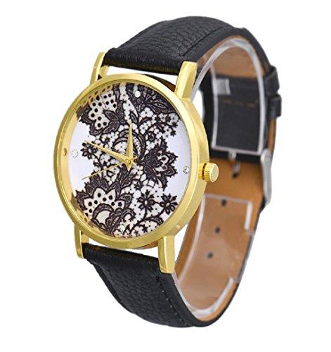 Sannysis® Mujeres Encaje Cuero impreso análogo de cuarzo visten el reloj Negro