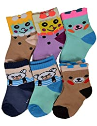Clastik Soft Cotton Socks For Baby girl and Baby Boy (0-6months) ( Pack Of 6 Pair ) Assorted Colours