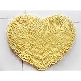 Alfombras, Luxbon Alfombra Corazón 14 Colores 50cmX60cm Decorativo Salón Dormitorio Ba?o(Amarillo)