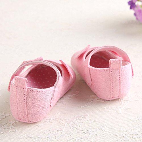 Bequeme Baby-Tuch-Schuhe Weiche und rutschfeste erste gehende Schuhe mit reizender Karikatur-Maus für 0-18 Monate Baby-Mädchen (Grau, M) Rosa