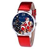 Damen Herren Uhren linqi1164 Unisex Armbanduhr Einfaches Design Weihnachten Ältere Muster Lederband Uhren Männer Frauen Analog Quarz Uhr Armbanduhren für Herren Damen Jungen Mädchen Geschenk