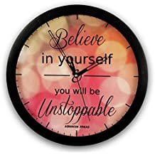 Aswhole Ideas Inspirational Believe in Yourself and You Will Be Unstoppable Wall Clock for Home Décor/Office