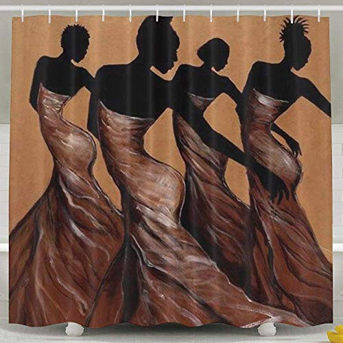 Duschvorhang Bath Curtain, African American Dance Dress Curtain, Waterproof Washable Polyester Fabric Bathing Curtain Hooks Are Included (Für Stangen Zuhause Dance)
