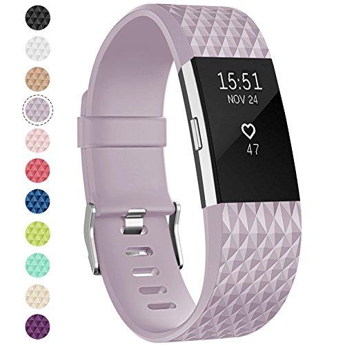 Onedream Compatible pour Fitbit Charge 2 Barcelet Femme Homme, Charge2 Sport Strap Bijou Lavande Violet (Pas de Tracker),L