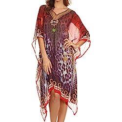 Sakkas NPCaftan1 - Tala Rhinestone acentuado Multicolor Sheer Caftan Top / Cover Up - Rojo / Púrpura - OS