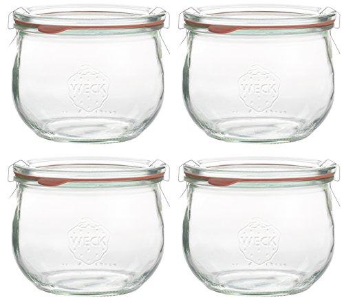 Image of Westmark 4 Runde Tulpen-/Weckgläser mit Glasdeckel und Deckelklammern, Glasvolumen je 500 ml, Glas/Stahl/Gummi, Weck, Transparent, 66742270