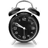 Aodoor Reloj Despertador, Alarma mecanismo de Cuarzo Retro de la noche Twin Bell Reloj despertador con alarma y luz nocturna, Pantalla 4'' sin tic tac silencioso con sonido alto de despertador - color negro (1*AA Baterías no incluidas)