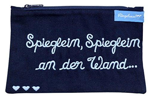 Kosmetiktäschchen Damen Spieglein an der Wand Dunkelblau Blaue Stickerei 12 x 20 cm Baumwolle Fairtrade Ringelsuse -