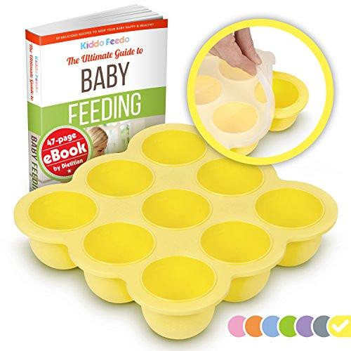 KIDDO FEEDO Contenedor para comida de bebés y bandeja de silicona con tapa - Sin BPA – Multi funcional - eBook gratis del autor/dietista - Garantía de por vida - Amarillo