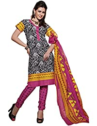 Kabeer Creation Women's Cotton Dress Material (KCNSFHSV11008_Free Size_Black)