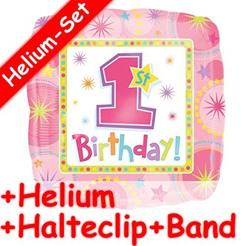 st BIRTHDAY GIRL * + HELIUM FÜLLUNG + HALTE CLIP + BAND * für den ersten Geburtstag // Aufgeblasen mit Ballongas // Deko Geburtstag Folien Ballon Luftballon Mädchen (Erster Geburtstag Einladungen Girl)