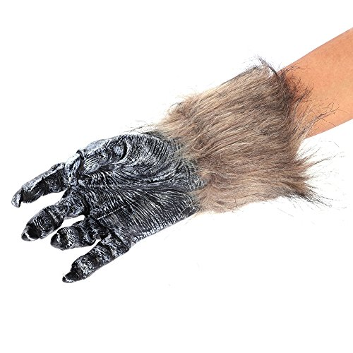 Kostüm Teufel Makeup Männlich - IBLUELOVER Halloween Handschuhe Wolf Bär Pfote Werwolf Kostüm Horror Party Deko mit Plüschhaar Tier Monster Cosplay Requisiten Musical Karneval Fasching Zubehör für Maskerade Make Up Spukhaus