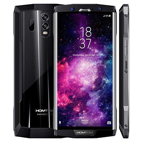 HOMTOM HT70 4G LTE Smartphone, entsperrte Handy, 6.0 Zoll 4GB + 64GB Android 7.0 MTK6750T Octa-Kern-Doppel-SIM GPS WiFi 10000mAh (Schwarz)